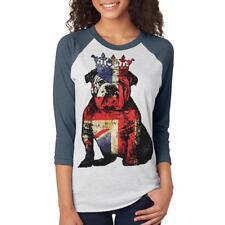 English British Bulldog Crown Grunge Flag Unisex Raglan T Shirt