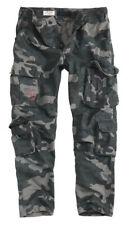 Surplus Pantalones AIRBORNE Slim Militar Hombre Combate Black Camo