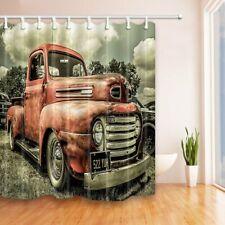 Antique Car Bathroom Fabric Shower Curtain Custom Vintage Old Truck Decoration