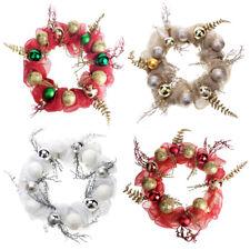 Decorated Mesh Ribbon Glitter Twigs Christmas Wreath, 21-Inch
