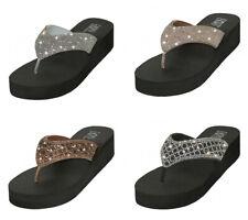Women's Flip Flops Sandals Rhinestone Beaded Platform Wedge Thong Shoes Sizes
