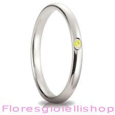 Fedina in argento con brillante Cubic Zirconia giallo, vari colori disponibili