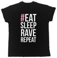 FUNNY EAT SLEEP RAVE REPEAT COOL RETRO BIRTHDAY PRESENT FUNNY MENS BLACK T SHIRT