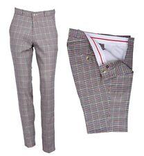 Uomo Retro Vintage Sta Stampa Golf Pantaloni Slim Fit Classico Tweed Quadri