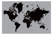 WORLD MAP POSTER contemporaneo nero e argento stile GRANDE NUOVA