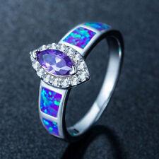 Jewelry 925 silver Filled  Rings Fire Opal Amethyst Sapphire Gems Wedding Women