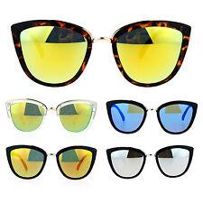 894632ac29cd SA106 Womens Color Mirror Reflective Lens Oversize Cat Eye Sunglasses