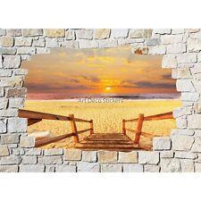 Stickers mural mur de pierre Coucher de soleil 8518