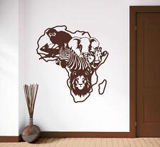 Landschaft: Afrika Safari - Tierwelt Löwe Elefant Zebra Wandaufkleber WandTattoo