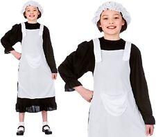 Niños Niñas Pobre Victoriano Niña Disfraz infantil negro/Blanco Disfraz Con