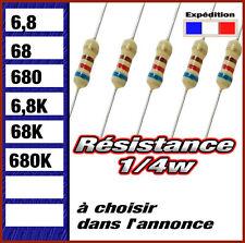 résistance 1/4w  (0,25w ) 6,8 # 68 # 680 # 6k8 # 68K # 680K  ohms