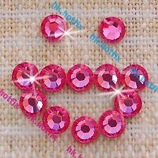 Hotfix Pink Rose ( 2 / 3 / 4 / 5 )mm Iron on Crystal Round Flatback Rhinestones