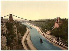 Bristol Clifton suspension bridge from the north clifs photochrome print ca.1890