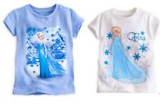 Disney Store  Frozen Elsa Anna T-Shirt Shirt White Blue Pink
