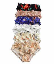 6 Pieces 100% Pure Silk Pattern Women's Bikini Panties Size S M L XL 2XL 3XL