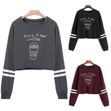 "Women Hoodies Jumper Sweatshirt Sweater Crop Top ""1st I Need Coffee"" Pullover BS"