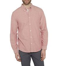 Wrangler Men's Cotton Oxford Shirt Regular Fit Long Sleeve Button Down Red