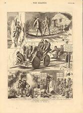 1883 IMPRIMÉ WALES SCÈNES CARRIERS RACING SUR CHARIOTS COIFFEUR CLIFF VISAGE