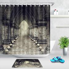 Halloween Dark Corridor Gothic Castle Skulls Shower Curtain Set Bathroom Decor
