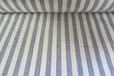 Graphite Grey/Beige Striped Linen  Curtain/Craft Fabric