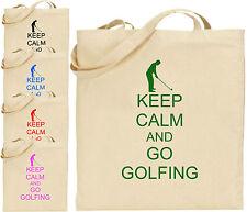 Keep Calm e andare a giocare a golf Grande Cotone Tote Shopping Bag amico regalo COMMEDIA Golf