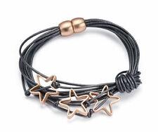 Damen Leder-Armband Charm mit Sternen Anhängern Farbwahl Wickelarmband 60672