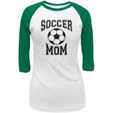 Soccer Mom White/Kelly Green Juniors 3/4 Raglan T-Shirt