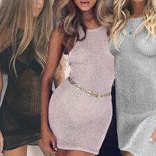 Women Sexy Transparent Sleeveless Back Strap Mini Dress Slim Party Skirt Beach