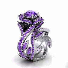 Gorgeous Lotus Ring Round Cut Amethyst Women 925 Silver Wedding Ring Size 6-10