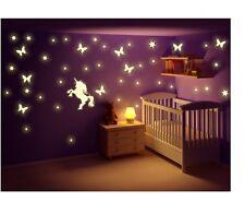 Wandtattoo nachtleuchtend Einhorn Fee Sterne Punkte Fluoreszierend Leuchtsticker