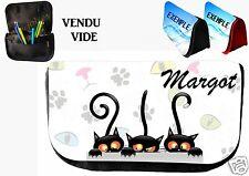 trousse ou pochette à rabat chat personnalisée prénom réf 16