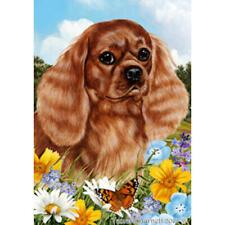 Cavalier King Charles Spaniel Ruby Summer Flowers Flag