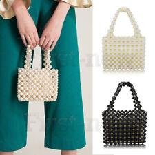Ladies Handmade Handbags Pearl Bag Weave Purse Beaded Acrylic Wedding Clutch Bag
