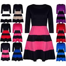 Womens Ladies 3/4 Sleeve Block Stripe Panel Flared Franki Skater Dress Plus Size