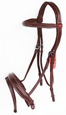 Horse English Padded Leather Raised Adjustable Flash Bridle Reins Full 803442