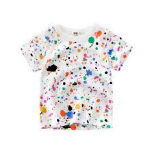 Summer Cool Funny Design Cotton Boys Tee Children Splash Ink Printing T-shirts