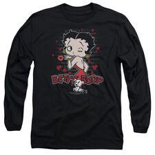 Betty Boop Cartoon Classic Wink & Kiss Adult Long Sleeve T-Shirt Tee