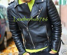 Jacket New Motorcycle Designer Styles Mens Black Genuine Leather Biker Slim 188