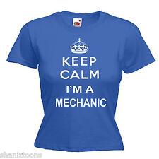 Keep Calm MECCANICO AUTO Slogan Donna Lady Fit T Shirt 13 colori Taglia 6 - 16