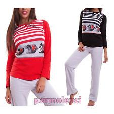 Pigiama donna maglia felpato pantaloni intimo righe idea regalo nuovo 6067-MOD