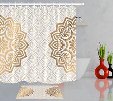 Golden Mandala Pattern Flower 100% Polyester Fabric Shower Curtain Bathroom Set