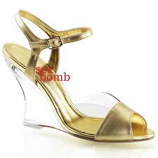 SEXY sandali ZEPPA tacco 10 dal 35 al 42 TRASPARENTE/ORO cinturino scarpe donna