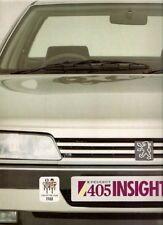 Peugeot 405 Saloon 'Insight' 1988 UK Market Sales Brochure