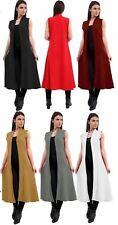 Womens Open Front Crepe Long Waist Coat Maxi Ladies Sleeveless Plain Cardigan