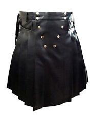 Real Mens BLACK Leather Gladiator Pleated Kilt FLAT FRONT Pocket Wrap Style -K10