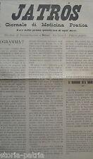 MEDICINA PRATICA_JATROS_ANTICO PERIODICO_MILANO_TUBERCOLOSI_ATROPINA_PEDIATRIA