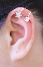 1 Piece Clip On Ear Bone Cuff Earring Star,Heart,Flower Silver,Gold Men Women