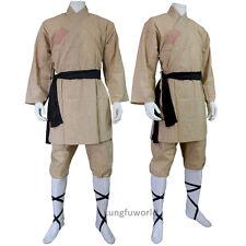 Beige Cotton Shaolin Monk Robe Martial arts Uniform Tai chi Kung fu Wushu Suit