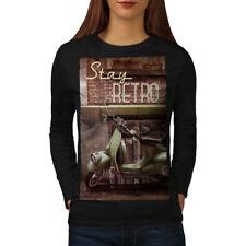 Wellcoda Funky Retro Vintage Womens Long Sleeve T-shirt, Vintage Casual Design