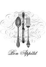 Aufkleber transp. f. Windlichter, Glas, Möbel-Vintage-Shabby-Bon Appetit-11004